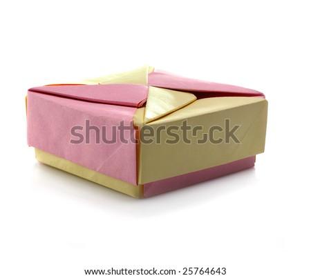 pink yellow box origami on white background - stock photo