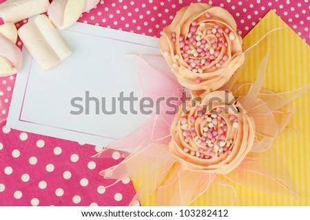 Pink yellow cupcake card design wallpaper background - stock photo