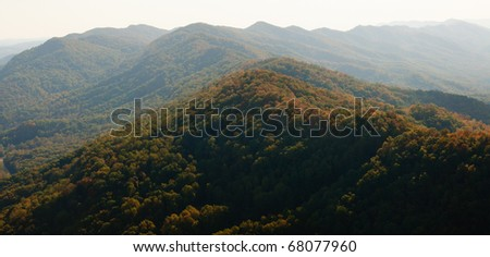 Pinnacle Overlook view of mountains from Cumberland Gap National Historical Park - stock photo