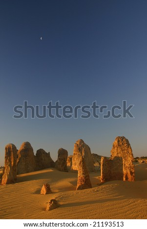Pinnacles and the moon, Cervantes, Western Australia - stock photo