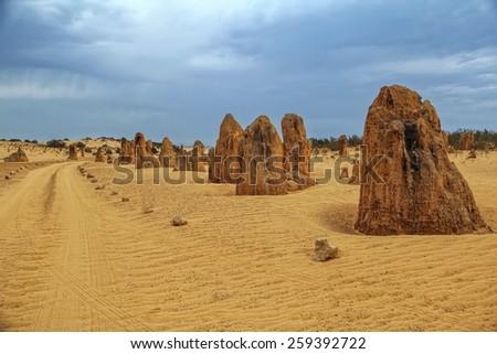 Pinnacles Desert in Nambung National Park, Western Australia - stock photo