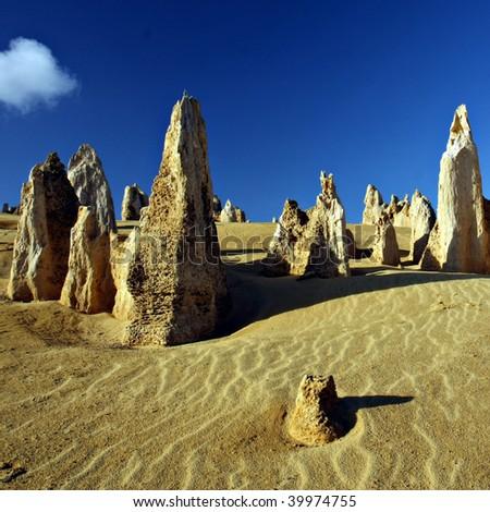 Pinnacles desert - Western Australia - stock photo