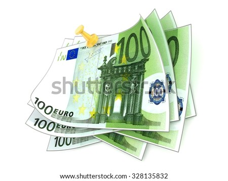 Pinned one hundred euros bills on white background. 3D render illustration isolated