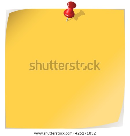 Pinned yellow note paper isolated on white background. - stock photo