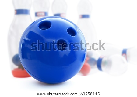 pins and ball for play in bowling on a white background - stock photo