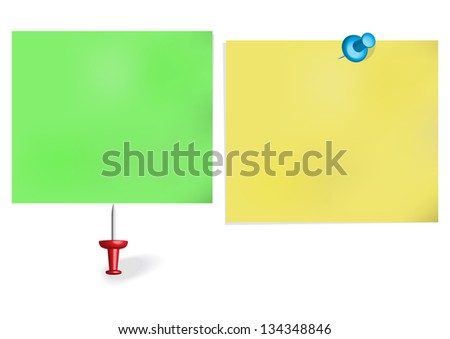 Pins and note paper.  Raster version. - stock photo