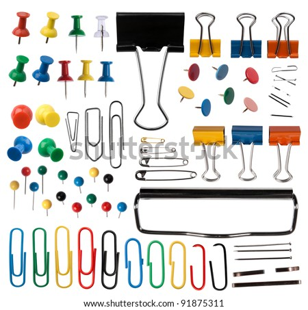Pins and paper clips collection - stock photo