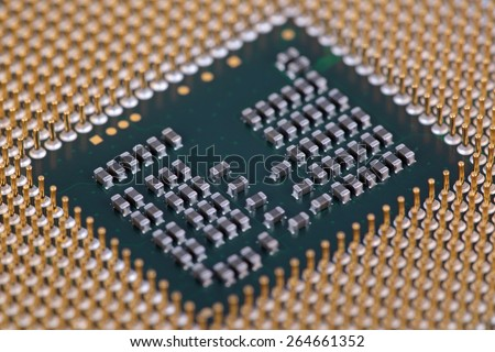 Pins platform of modern central processing unit, close-up