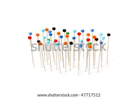 pins with colored heads isolated on white background - stock photo