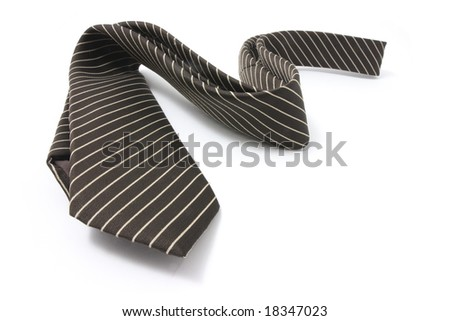 Pinstriped Necktie on Isolated White Background