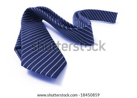 Pinstriped Necktie on Isolated White Background - stock photo