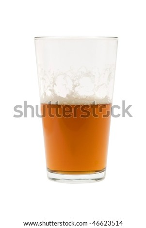 Pint of beer, ale, lager  on white background half empty - stock photo