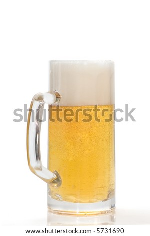 pint of beer on a white