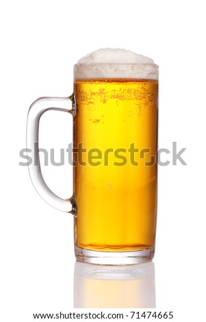 pint of beer served in a stein glass. - stock photo