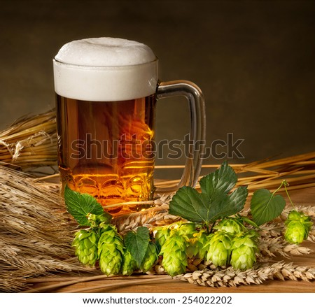 pint of beer with hops and barley - stock photo