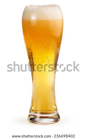 pint of light beer isolated on white background - stock photo