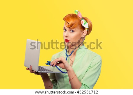 Pinup girl listening computer with stethoscope looking surprised at you retro vintage hairstyle Healthcare diagnosis software repair diagnostics internet threat security safety problem solving concept - stock photo