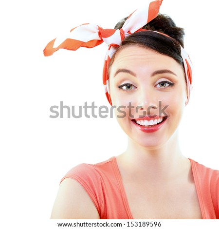 Pinup girl, portrait of young happy sexy woman in pin-up style, over white - stock photo