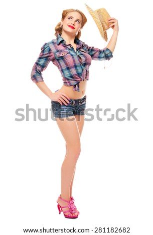 Pinup portrait of young woman isolated - stock photo
