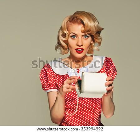 PinUp sexy girl with white a handbag - stock photo