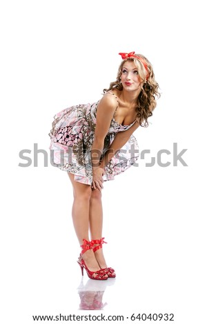 Pinup  sketch - a girl bends down and smiles - stock photo