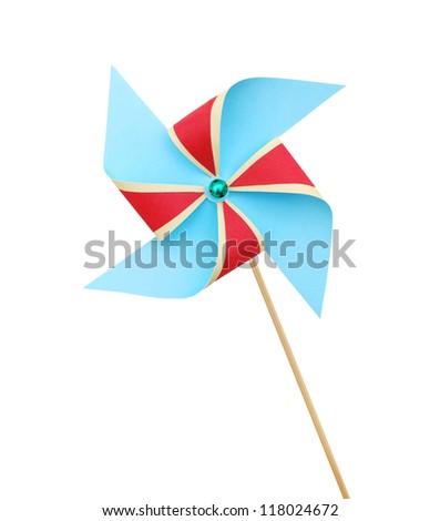Pinwheel on white background - stock photo