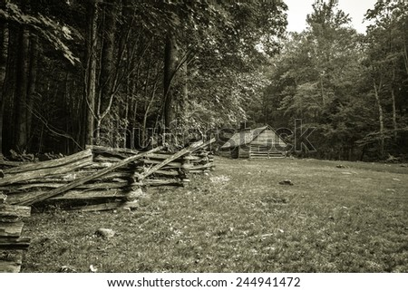 Pioneer Homestead. Abandoned pioneer homestead located in the Great Smoky Mountains National Park.  - stock photo
