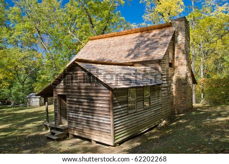 Pioneer house on Cades Cove trail in Smoky Mountains National Park