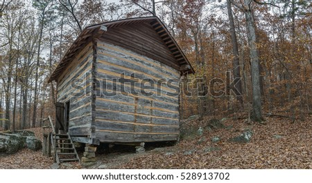 Pioneer Log Cabin From The 1840u0027s In The Appalachian Mountain Foothills Of  Northeast Mississippi.