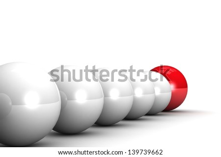 Pioneer - red ball leading the others - stock photo