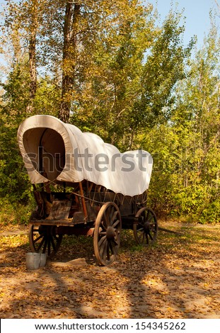 Pioneer wagon - stock photo