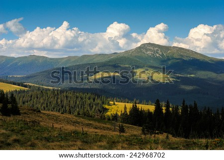 Pip Ivan mountain in Carpathians, observatory is on the top - stock photo