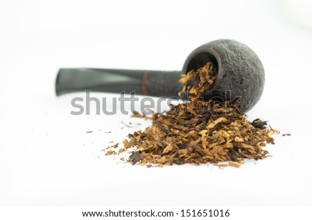 Pipe and smelly tobacco isolated on white background - stock photo