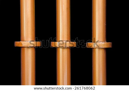 pipe line beer tank and black background. - stock photo