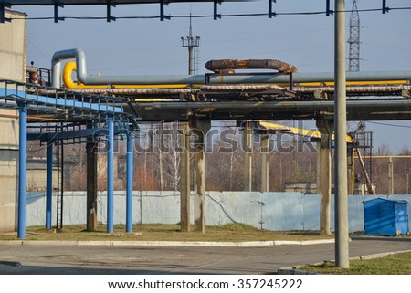 Pipe line in factory. - stock photo