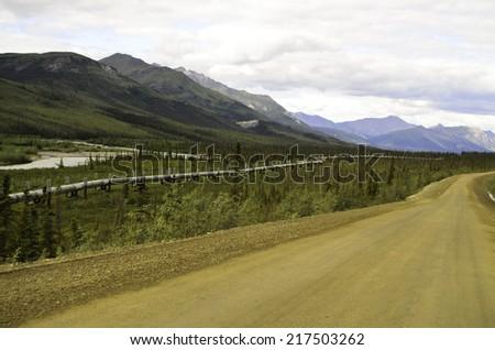 Pipeline along road - stock photo