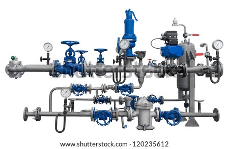Pipeline fragment with devices isolated. Detailed clipping path included. - stock photo