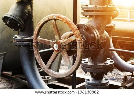 Pipeline indoors oil refining - stock photo