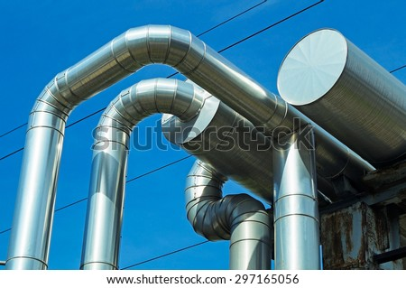 Pipeline of the power station - stock photo