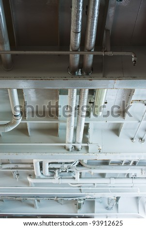 pipeline on big boat ceiling background