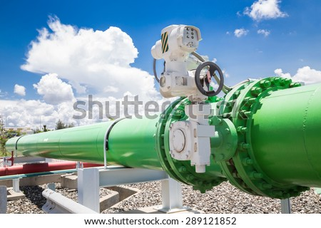 Pipeline valves of cooling water system in power plant - stock photo