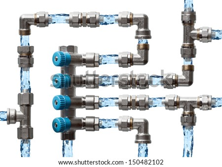 Pipes and fittings labyrinth with water, concept of water supply system in house - stock photo
