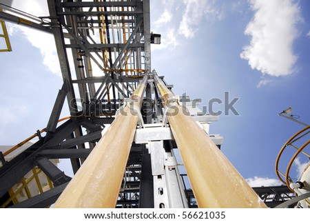 pipes and metal in the high tech plant - stock photo