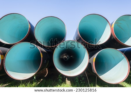Pipes Aqua-duct  Industrial Engineering Large steel pipes manufactured for civil industrial  engineering construction for water aqua-duct project. - stock photo