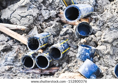 Pipes in construction site  - stock photo