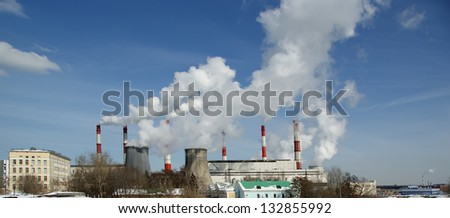 Pipes of coal  burning power station. Moscow, Russia - stock photo