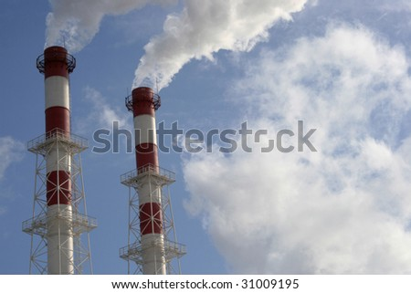 Pipes of electric power station and smoke from it