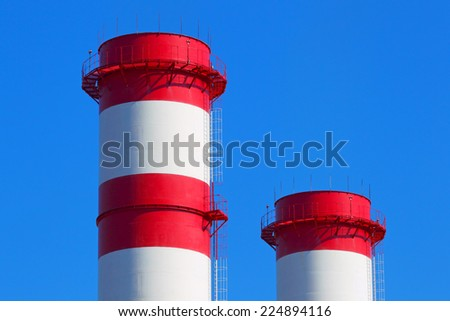 Pipes of industrial factory - stock photo