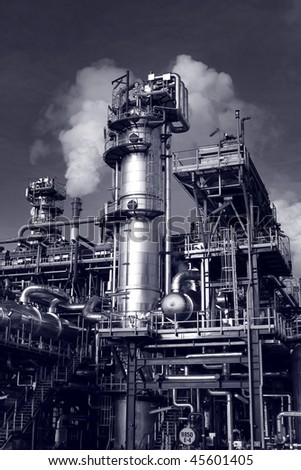 Pipes, tubes, machinery at a oil refinery plant