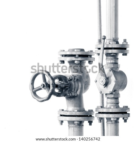 pipes valve connection - isolated - stock photo